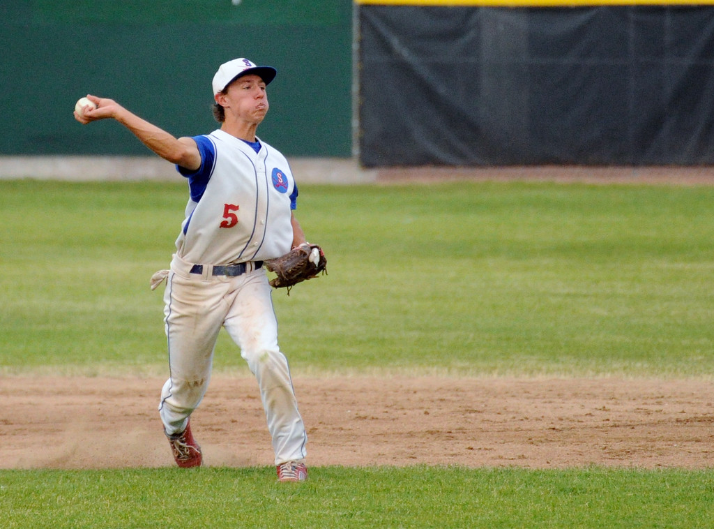 Sheridan shortstop Jeffrey Shanor makes a throw to first base during the Troopers' doubleheader against Gillette on Tuesday, July 5 at Thorne-Rider Stadium. Mike Pruden | The Sheridan Press