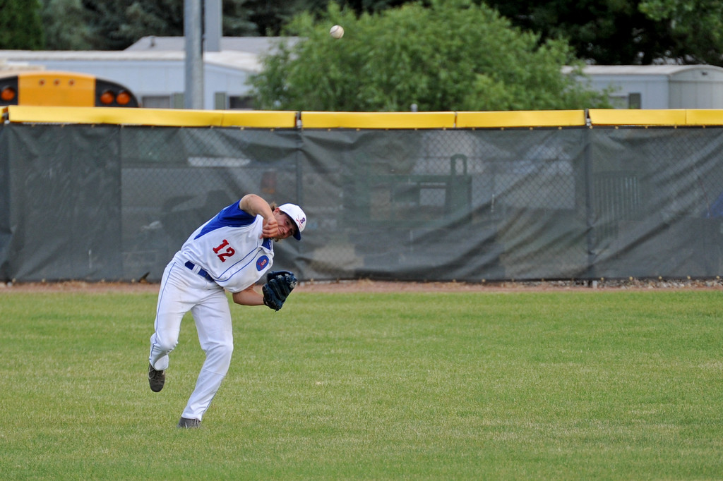 Sheridan center fielder Coy Steel guns down a runner at home plate on Tuesday, July 5 at Thorne-Rider Stadium. Mike Pruden | The Sheridan Press