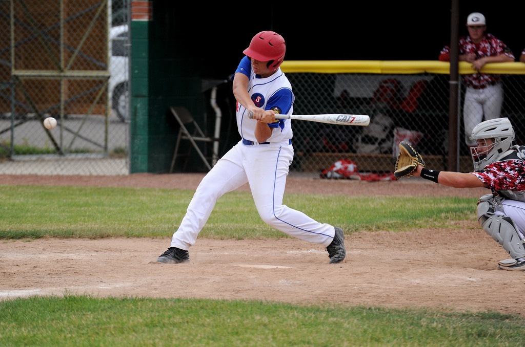 Connor Jorgenson steps into a swing during the Troopers' doubleheader against Gillette on Tuesday, July 5 at Thorne-Rider Stadium. Mike Pruden | The Sheridan Press