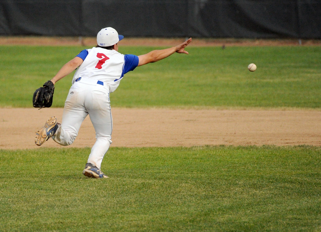 Sheridan pitcher Noah Gustafson flicks an underhand toss to first base against Gillette on Tuesday, July 5 at Thorne-Rider Stadium. Mike Pruden | The Sheridan Press