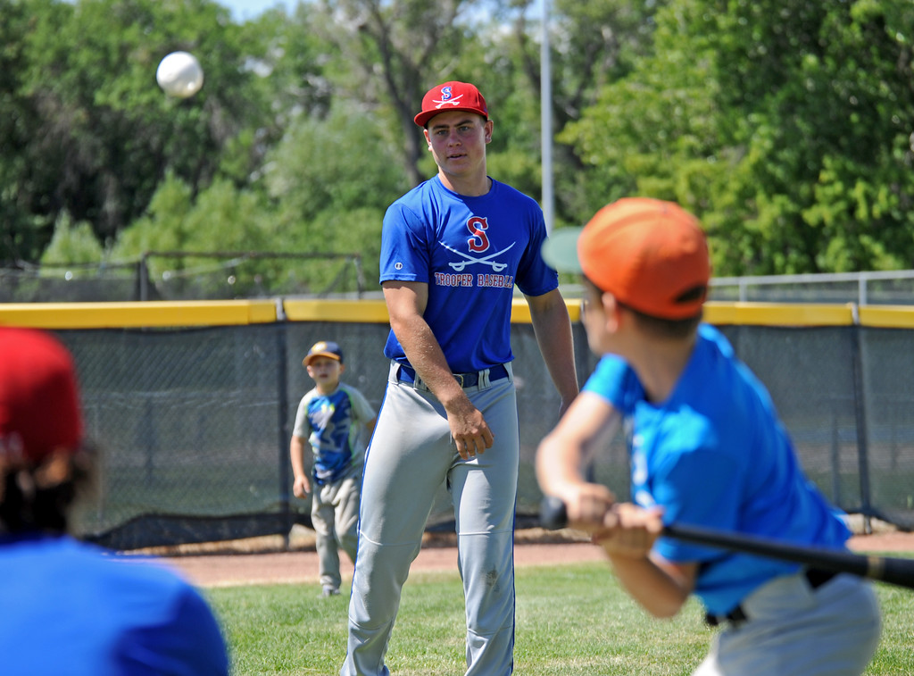 Sheridan Trooper Noal McCafferty tosses a pitch during a whiffle ball game at the Troopers baseball camp on Thursday, July 7 at Thorne-Rider Stadium. Mike Pruden | The Sheridan Press