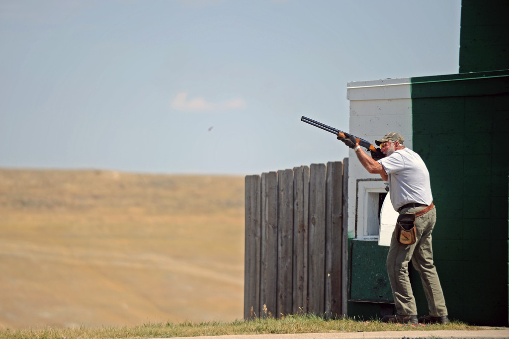Edward Kimutis takes aim during the Wyoming Senior Olympics skeet shooting event on Friday, August 5 at the Sheridan County Sportsman Gun Club. Kimutis calls Florida home but spends his summer's in Wyoming practicing his shooting. Mike Pruden | The Sheridan Press
