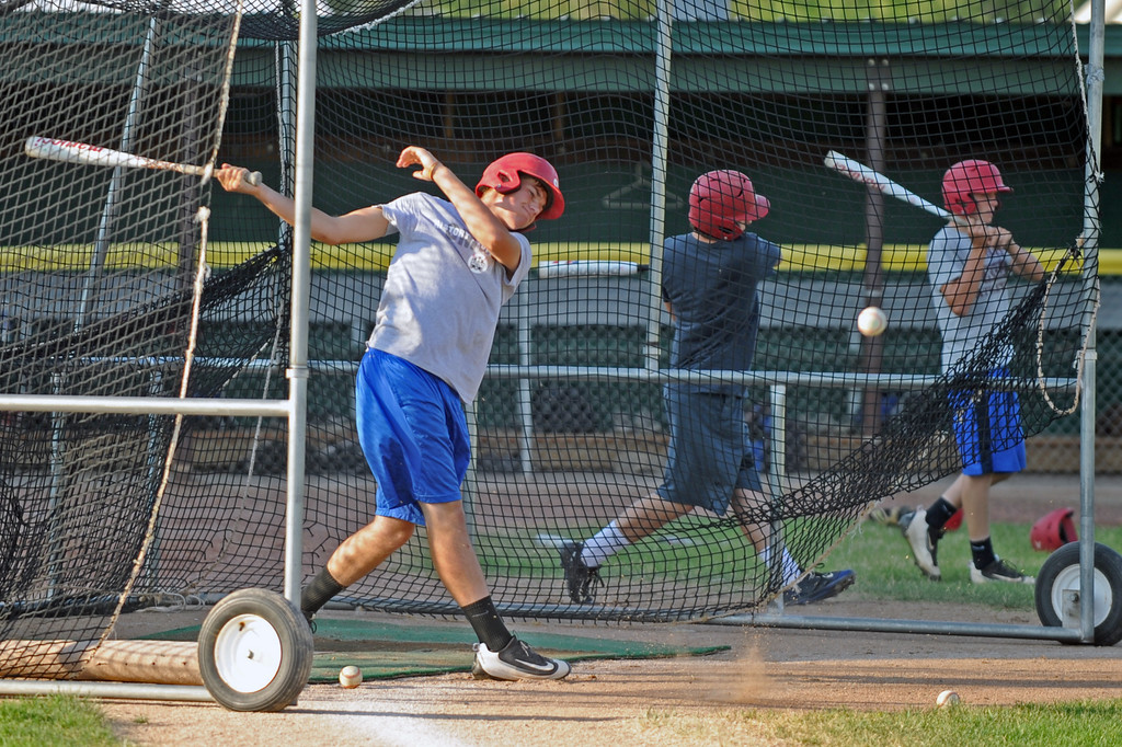 Quinton Brooks follows through on a swing during batting practice on Monday, August 1 at Thorne-Rider Stadium. Mike Pruden | The Sheridan Press