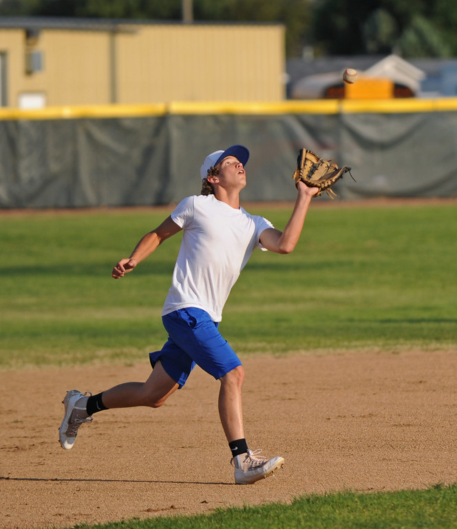 Shortstop Kade Eisele watches a pop fly into his mitt during practice on Monday, August 1 at Thorne-Rider Stadium. Mike Pruden | The Sheridan Press