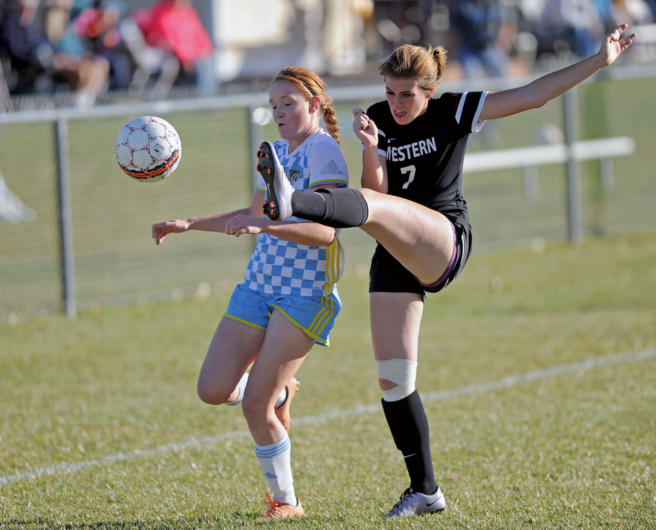 Sheridan College's Maddy Werner, left, dodges a high kick from Western Wyoming's Madeline Case on Saturday, Oct. 22 at Maier Field. Mike Pruden | The Sheridan Press