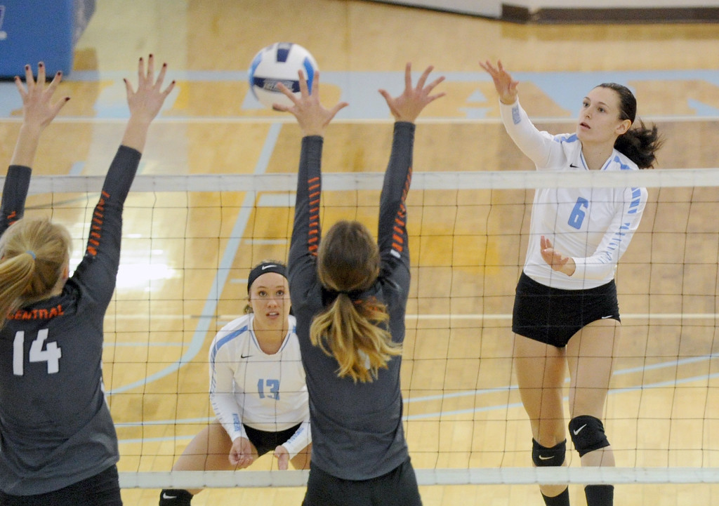 Sheridan College's Kiahlei Yaste, right, tries to hit the ball past two Central Wyoming blockers on Saturday, Oct. 22 at the Bruce Hoffman Golden Dome. Yaste led SC with 13 kills in the Lady Generals' 3-0 win. Mike Pruden | The Sheridan Press