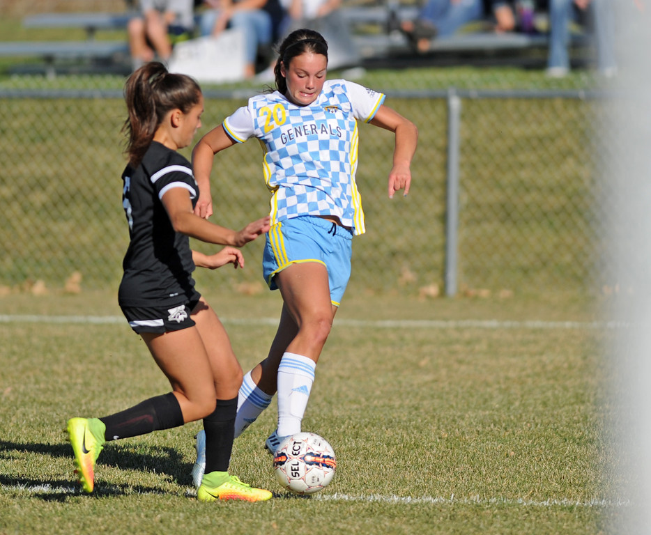 Sheridan College's Sarah Jones, right, makes a move around a Western Wyoming defender during a Region IX Tournament game on Saturday, Oct. 22 at Maier Field. Mike Pruden | The Sheridan Press