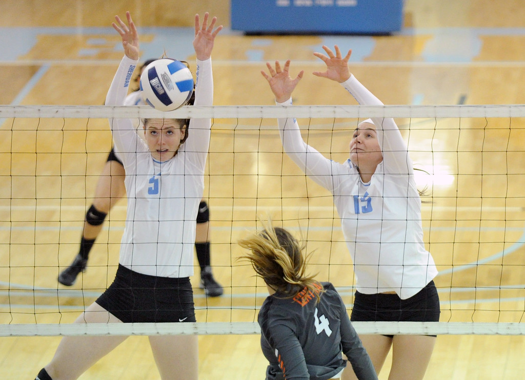 Miranda Gallagher, left, and Ashlee Purcella block a Central Wyoming spike during Sheridan College's 3-0 win on Saturday, Oct. 22 at the Bruce Hoffman Golden Dome. Mike Pruden | The Sheridan Press