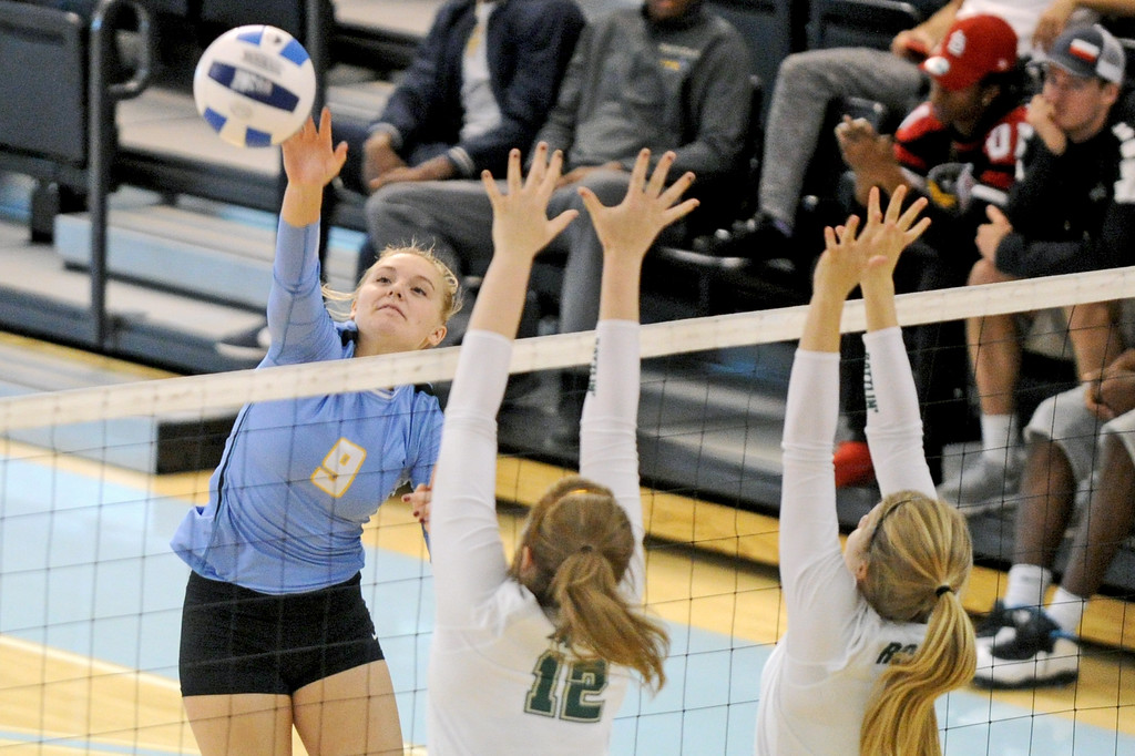 Sheridan College's Maranda Koch, left, sends the ball past two Rocky Mountain College defenders on Tuesday, Oct. 18 at the Bruce Hoffman Golden Dome. Mike Pruden | The Sheridan Press
