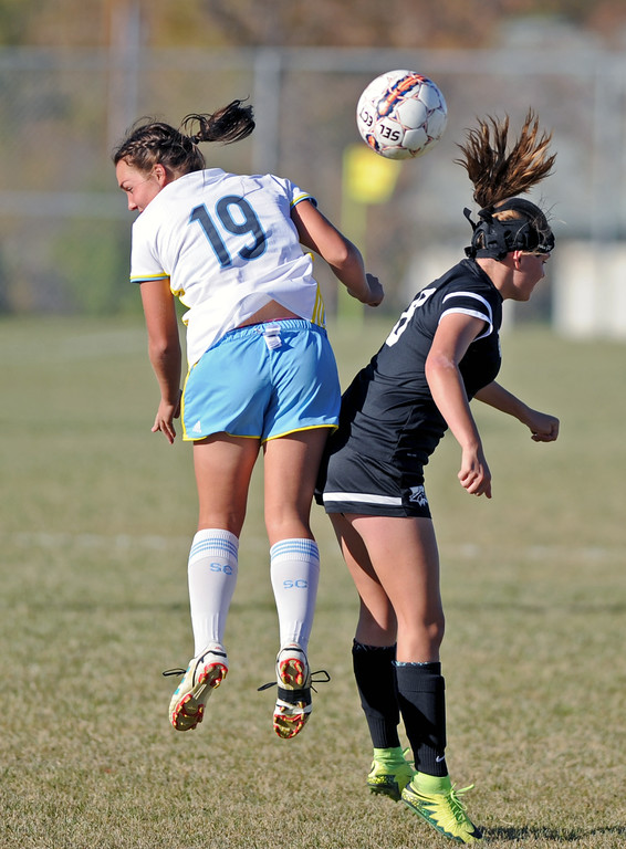 Sheridan College's Ashley Wilcox, left, collides with Western Wyoming's Madeline Case during a Region IX Tournament game on Saturday, Oct. 22 at Maier Field. Mike Pruden | The Sheridan Press