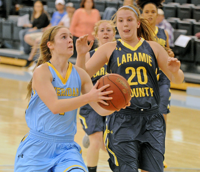 Brooke Cargal takes the ball to the hole against Laramie County Community College on Saturday, Nov. 5 at the Bruce Hoffman Golden Dome. Mike Pruden | The Sheridan Press
