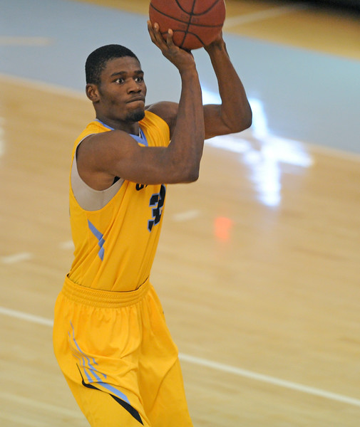 Dmonte Harris lines up a 3-pointer at the top of the key during Sheridan College's win over Northeastern Junior College on Tuesday, Nov. 1 at the Bruce Hoffman Golden Dome. Mike Pruden | The Sheridan Press