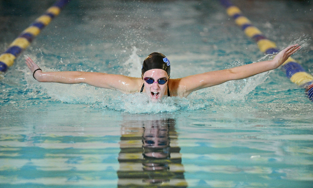 Jadyn Mullikin swims the butterfly leg of the 200-meter individual medley during Sheridan's meet against Gillette and Buffalo on Tuesday, Sept. 13 at Sheridan Junior High School. Mike Pruden | The Sheridan Press