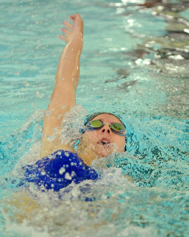 Pippin Robison swims the backstroke during the 200-meter individual medley on Tuesday, Sept. 13 at Sheridan Junior High School. Mike Pruden | The Sheridan Press