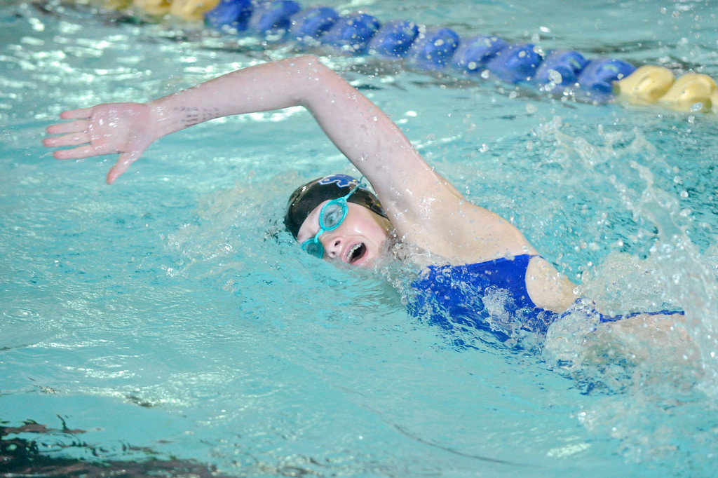 Zoe Robison competes in the 200-meter freestyle race on Tuesday, Sept. 13 at Sheridan Junior High School. Mike Pruden | The Sheridan Press