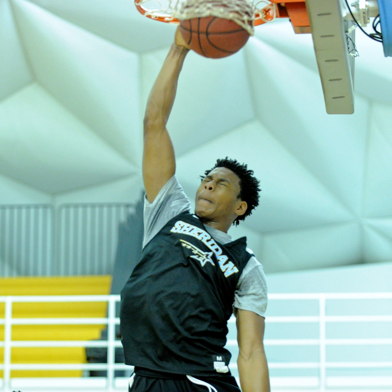 Sheridan College's Darius Jackson throws down a dunk during practice on Saturday, Oct. 1 at the Bruce Hoffman Golden Dome. Saturday marked the official start to the 2016-17 season. Mike Pruden | The Sheridan Press
