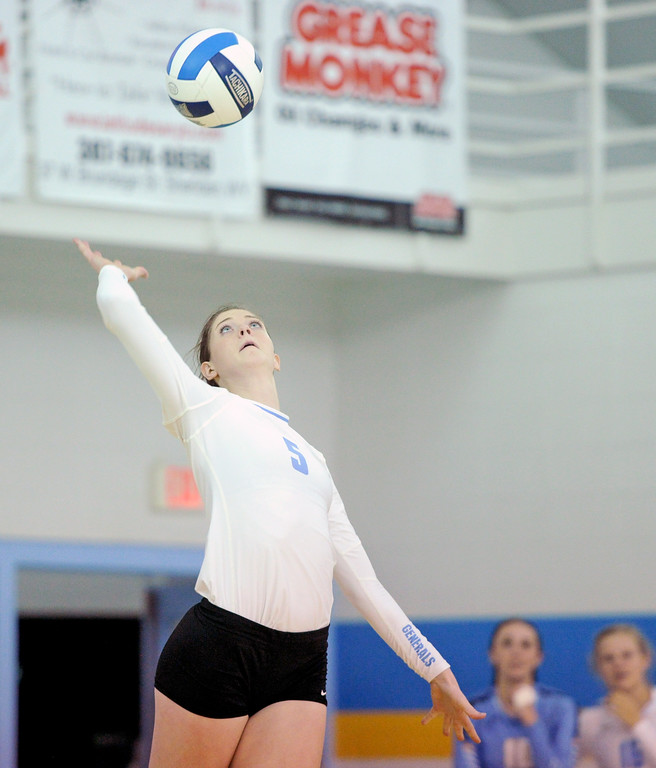 Sheridan College's Miranda Gallagher serves the ball in a match against Casper College on Tuesday, Sept. 27 at the Bruce Hoffman Golden Dome. Mike Pruden | The Sheridan Press