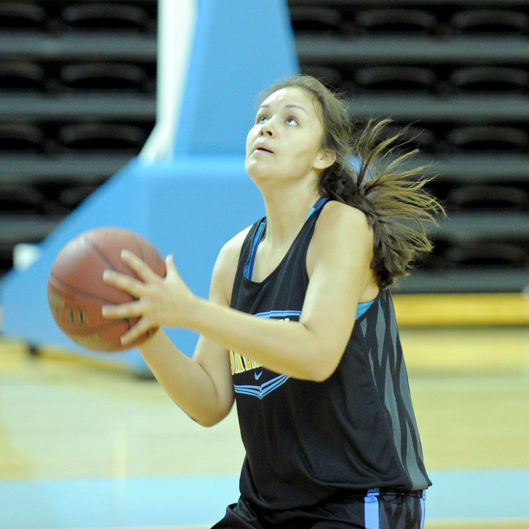 Sheridan College's Tyra Limpy goes up for a layup during a fast break drill on Saturday, Oct. 1 at the Bruce Hoffman Golden Dome. Mike Pruden | The Sheridan Press