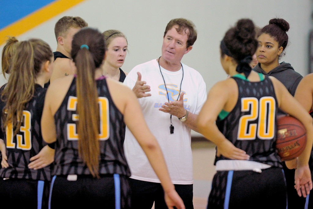 Sheridan College head women's basketball coach Frank McCarthy, center, addresses his team during a break in practice on Saturday, Oct. 1 at the Bruce Hoffman Golden Dome. McCarthy recently announced that the 2016-17 season would he his last at Sheridan College. Mike Pruden | The Sheridan Press