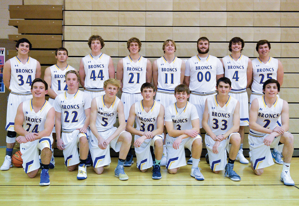 The 2016-17 Sheridan Broncs basketball team. Back row, from left: Ryan Session, Coy Steel, Ben Lecholat, Parker Christiansen, Drew Boedecker, Bayne Baker, Aaron Woodward, Tyler Larsen. Front row, from left: Kyle Custis, Brayden Lee, Abraham Ross, Noah Erickson, Kirby Coe-Kirkham, Drew Mavrakis, Aaron Sessions.