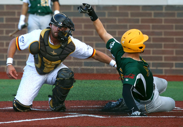 8-7-16 Jackrabbits vs Miners Dan Ward slides safely home before Jackrabbits' Mitch Stoltzfus can tag him out. Kelly Lafferty Gerber | Kokomo Tribune