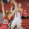 Ali Berry goes up for a shot against Blake Bartley