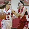 Natile Jenkens moves the ball against Sara Moore