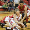 Meredith Dean fights for a loose ball
