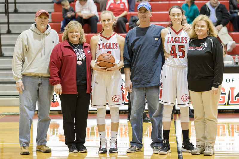 ERHS honors Lexi Dean and Madison Shifflett before the start of the game.