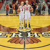 Madison Shifflett and Lexi Dean pose post game with their 1,000 point balls.
