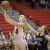 Madison Shifflett gets by Jessica Foltz for the layup