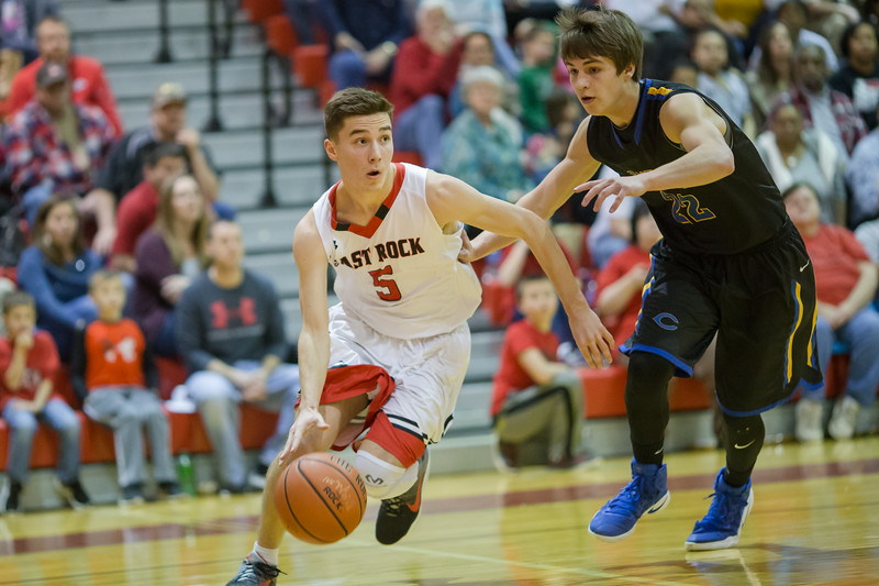 Logan Comer drives the ball in by Luke Estep