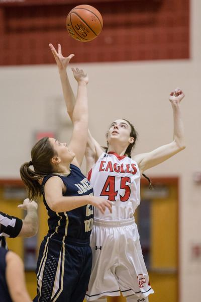 Lexi Dean and Hannah Arnold battle for the jump ball