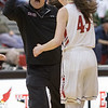 Coach Cave celebrates with Lexi Dean after Wilson calls a timeout in the second half.