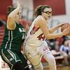 Naomi Gibson pushes the ball down the lane past Sarah Sondrol