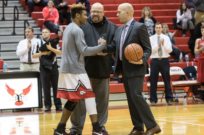 Coach Keyes recgonizes Javon Butler's 1,000 point while the Eagles were on the road.