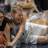 Brooke Vetter and Makayla Cyzick battle for a loose ball