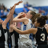 Brooke Vetter finds herself in a trio of TA players, Eva Jordan (33), Kaylin Howard (3), and Melanie Lewis (40)