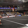 Sophmore Grace Rogers flips through the air during the Eagle's routine.