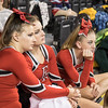 Sophmores Maggie Ferral and Grace Rogers sit in the stands along with Freshman Madison Swisher watching scores of the other teams being displayed waiting to see if the Eagles would advacnce to round 2.