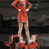 Freshman Madison Swisher is held up during a stunt