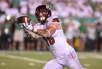 Louisville tight end, Cole Hikutini hauls in a touchdown pass late in the first half against Marshall on Saturday evening.  MARTY CONLEY/ FOR THE DAILY INDEPENDENT