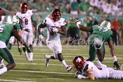 Louisville's Jeremy Smith looks for an open running lane against Marshall on Saturday evening.  MARTY CONLEY/ FOR THE DAILY INDEPENDENT