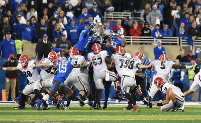 Georgia kicker, Rodrigo Blankenship kicks a field goal that sealed the game for the Bulldogs against Kentucky.  MARTY CONLEY/ FOR THE DAILY INDEPENDENT