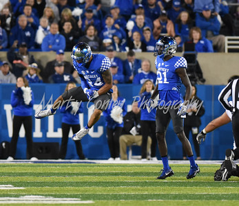 Kentucky linebacker, Jordan Jones celebrates after a big tackle against Georgia on Saturday evening.  MARTY CONLEY/ FOR THE DAILY INDEPENDENT