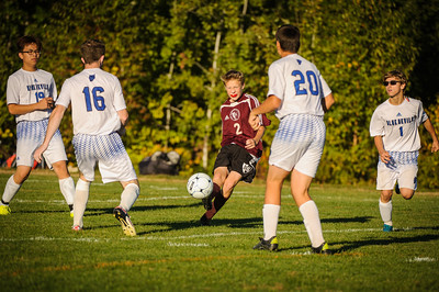 JV soccer between Epping (white) and Derryfield (maroon) held on October 5, 2016 at the Epping HS in Epping, NH.