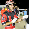 Don Knight |  The Herald Bulletin<br /> Montrell Teague smiles in the winners circle after winning the Dan Patch with Wiggle It Jiggle It at Hoosier Park on Friday.