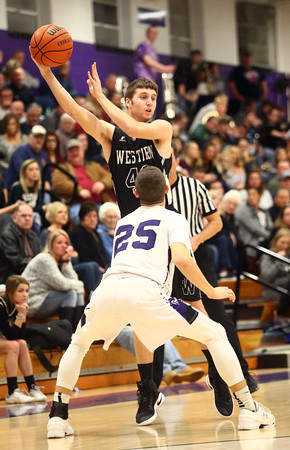 12-2-16<br /> Northwestern vs Western boys basketball<br /> Western's Reed Hubbert looks for a pass.<br /> Kelly Lafferty Gerber   Kokomo Tribune