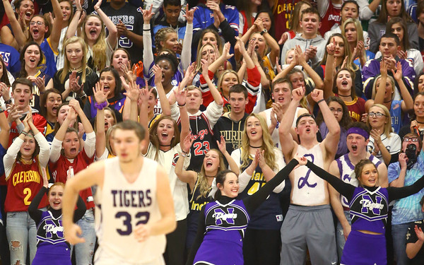12-2-16<br /> Northwestern vs Western boys basketball<br /> Northwestern's student section cheers after they score a basket.<br /> Kelly Lafferty Gerber | Kokomo Tribune