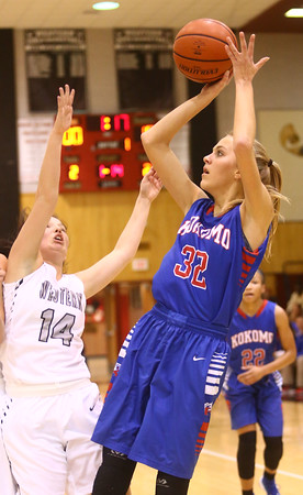 12-6-16<br /> Kokomo vs Western girls basketball<br /> Kokomo's Brittany Barnard shoots.<br /> Kelly Lafferty Gerber | Kokomo Tribune